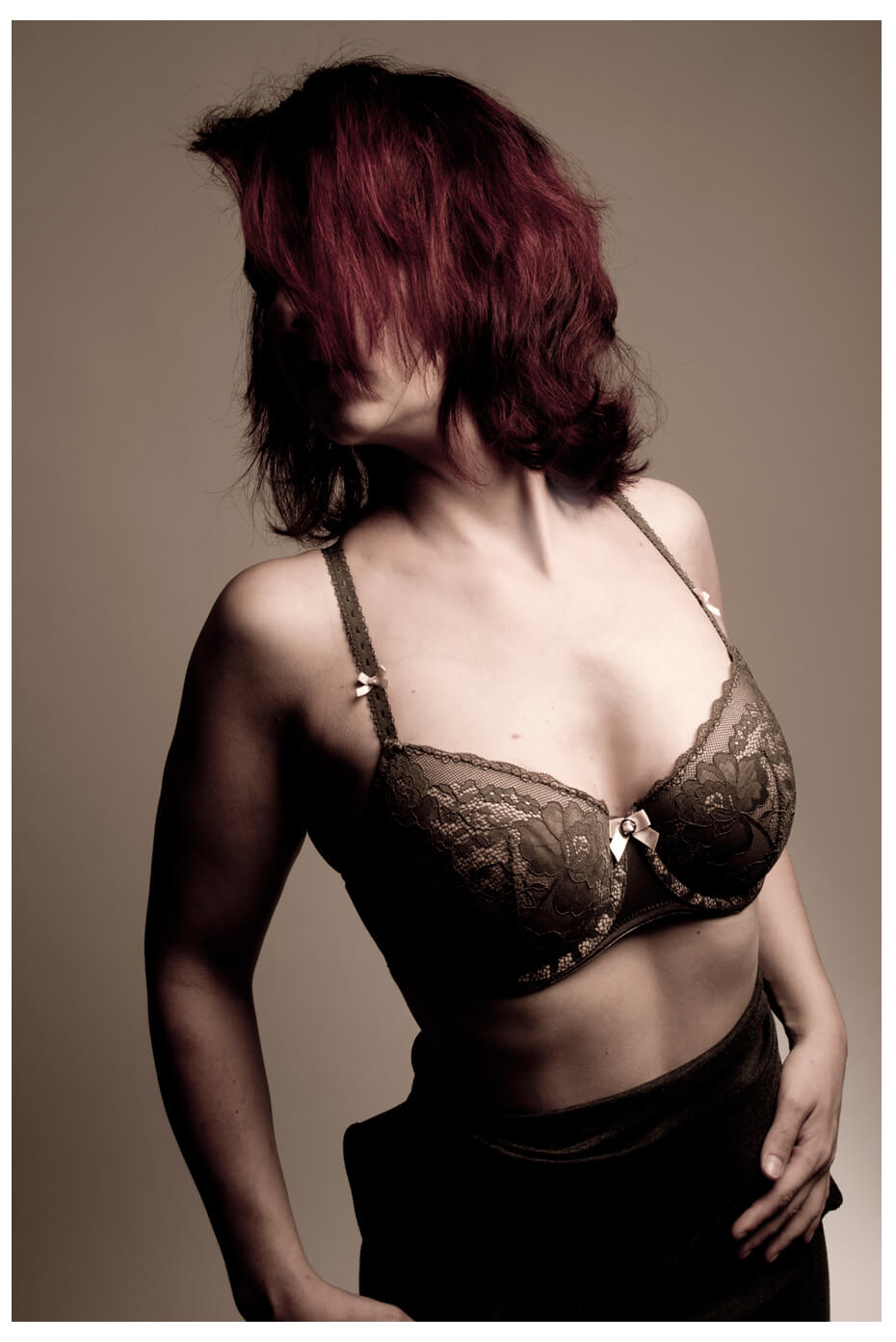 erotisches Fotoshooting, BH farbig