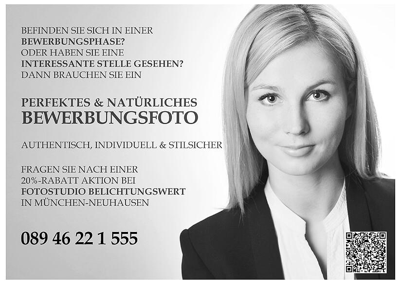 Bewerbungsfotos München Angebot Anzeige Frau im Fotostudio