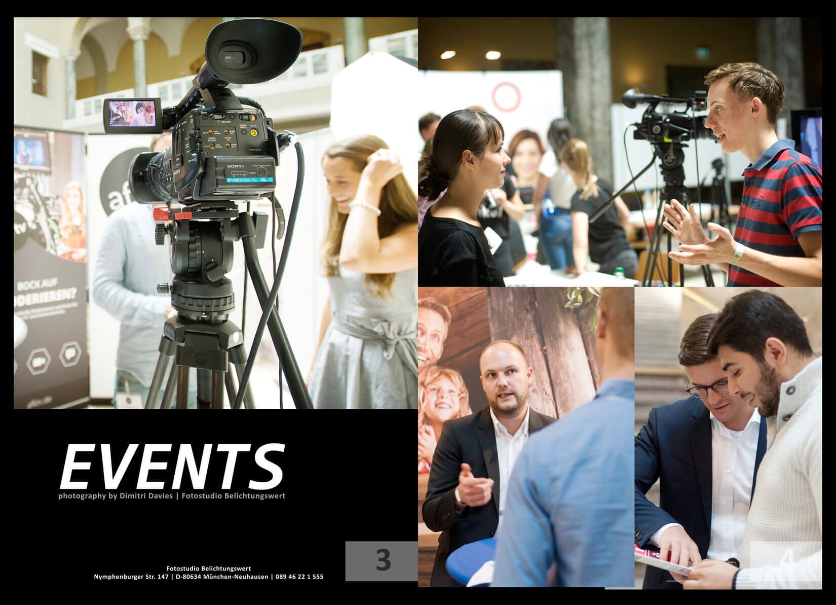 Eventfotografie München gesprächssituationen, Portraits und eine TV-Kamera im Vordergrund