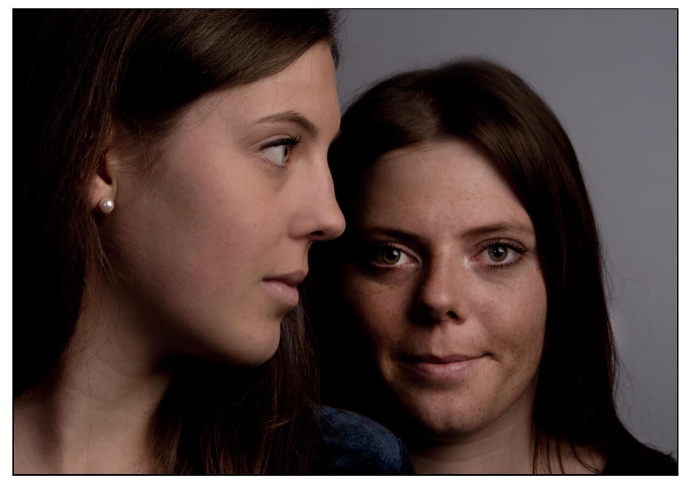 Familienportait Fotostudio Belichtungswert, zwei Schwestern