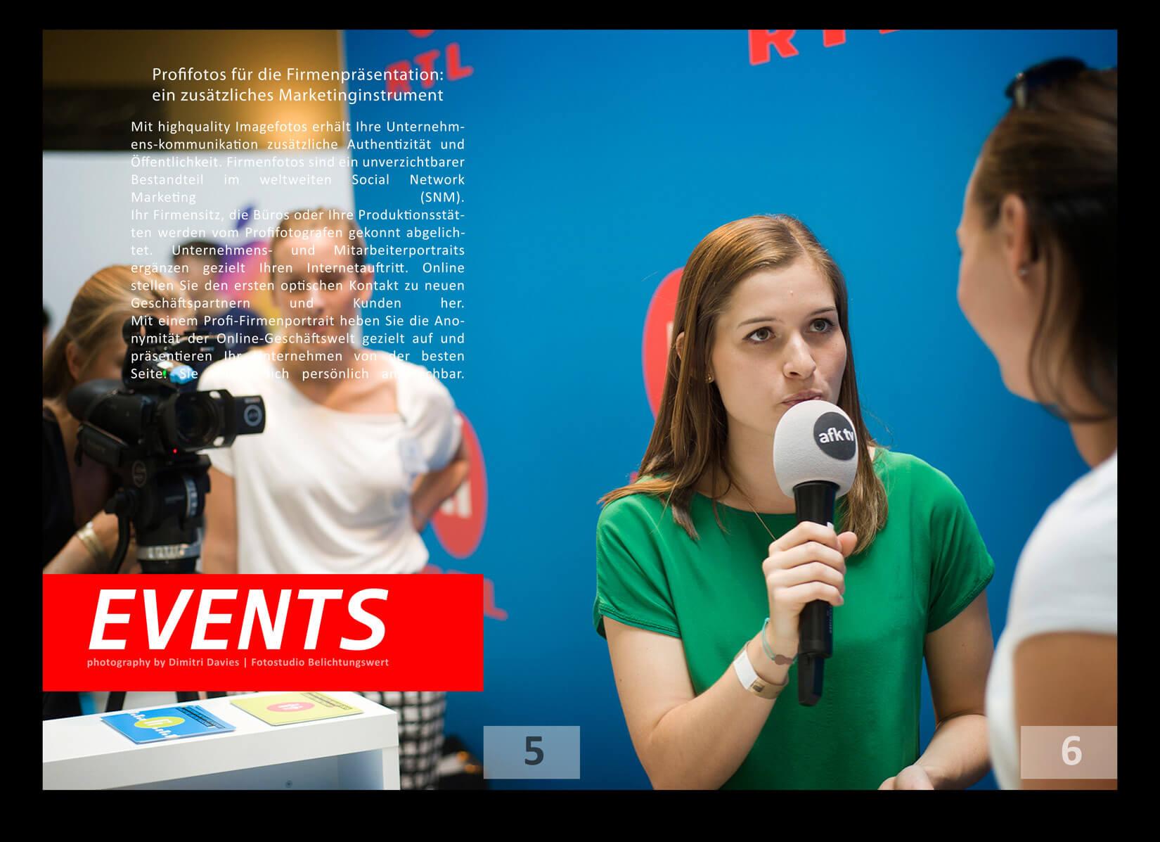 Eventfotografie München RTL2 Interview, ein Mädchen im grünem Oberteil mit einem Mikro