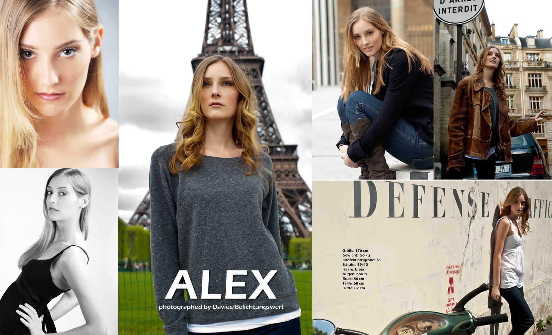 Sedcards Für Models Alex in Paris, Studio und draussen
