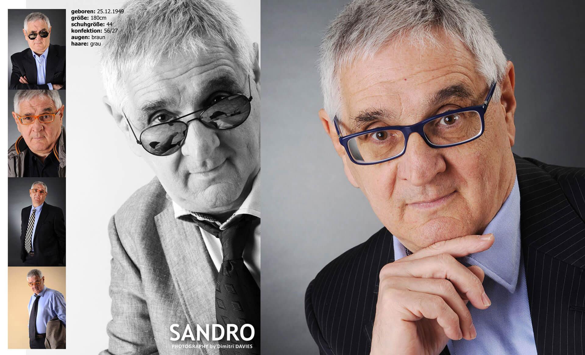 Sedcards Komparsen Mann Fotostudio als älterer Schauspieler